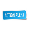 action alert square sticker on white vector image vector image
