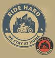 Biker stamp vector image vector image