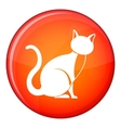 Black cat icon flat style vector image