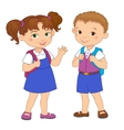 Boy and girl with backpacks pupil stay cartoon vector image vector image