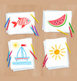 child drawing summer doodles vector image vector image