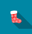 christmas sock with a long shadow vector image vector image