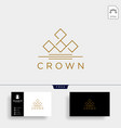 crown elegant line logo template icon element vector image