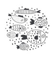 cute handdrawn fish set isolated on white vector image vector image