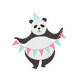 cute panda bear wearing party hat holding party vector image vector image
