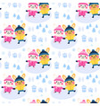 cute rabbit couple cartoon seamless pattern design vector image