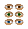 different colors eyes set vector image