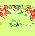 Easter happy holiday greeting card flowers