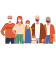 family characters are wearing medical masks vector image
