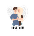 flat banner love you guy brown hair vector image