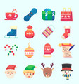 flat christmas new year icons colorful vector image