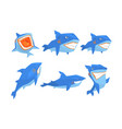 flat set blue shark in different poses vector image vector image