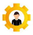 gear wheel frame with silhouette executive man vector image vector image