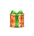 gift box 3d green ribbon bow isolated white vector image