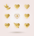 Golden abstract hearts icons set with sun beams
