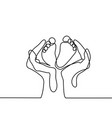 hands holding baby foot - protection symbol vector image vector image