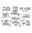 happy birthday party lettering typography set vector image vector image