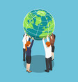isometric business team holding world over vector image