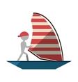 man sailing ship boat travel design shadow vector image vector image