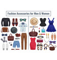 men and women accessories icon set vector image