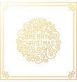 merry christmas hand lettering in outline style vector image vector image