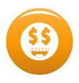 money smile icon orange vector image