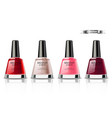 nail polish set realistic packaging label vector image
