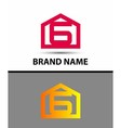 Number 6 logo logotype design with house vector image