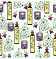 olives olive oil cans jars olive tree branches vector image vector image