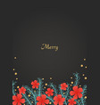 pine leaves and red hibiscus flower background vector image vector image