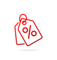 red shopping tags simple line icon special offer vector image