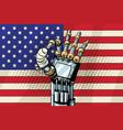 robot ok gesture the us flag broken bandaged vector image vector image