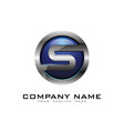 s 3d circle chrome letter logo icon design vector image vector image