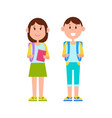 schoolboy and schoolgirl color vector image vector image