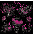 Set of hand drawn cute floral bouquets in vintage vector image vector image