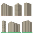 set of six modern high-rise building vector image