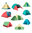 Set of tourist tents Collection of camping tent vector image vector image