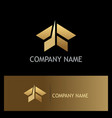 shape abstract arrow building gold logo vector image vector image