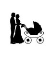 silhouette parents pushing bastroller vector image vector image
