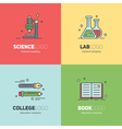 Thin lined set of logos for scientific research vector image vector image