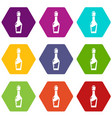 vinegar bottle icons set 9 vector image vector image