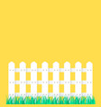 white fence garden on green grass vector image