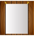 White note post pattern with pins on wooden board vector image vector image