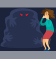 woman scared spooky monster from nightmare vector image