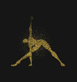yoga pose man silhouette in gold glitter dust vector image vector image