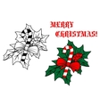 Christmas candy stick with holly berries vector image