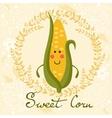 Cute sweet corn character vector image