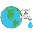 Earth Globe With Water Faucet vector image