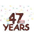 48 years anniversary celebration card with cake vector image vector image
