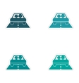 assembly realistic sticker design on paper car vector image vector image